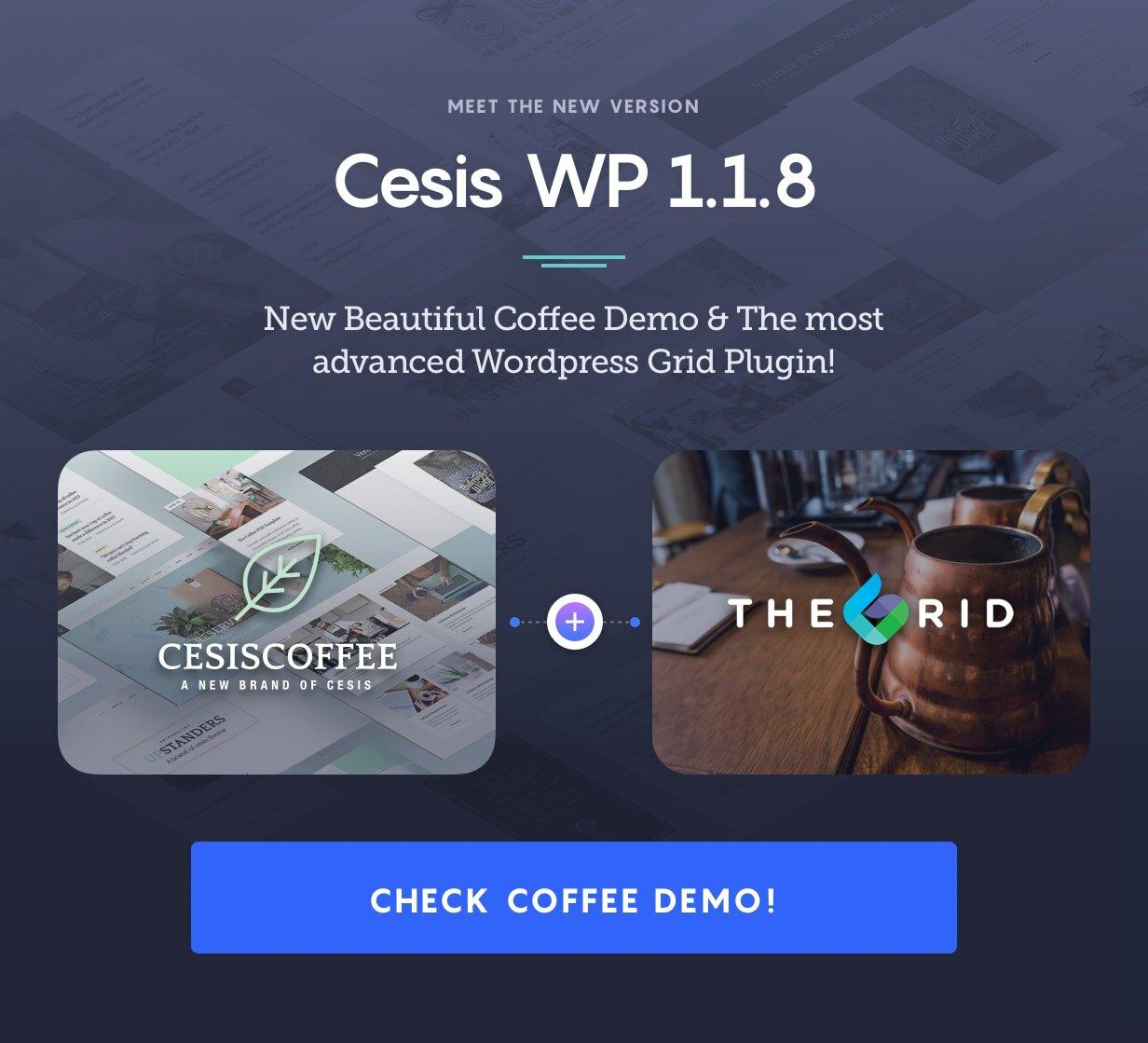 Cesis WordPress ver 1.1.7 - Coffee Demo added